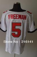 Free/Fast Shipping,Sewn On #5 Josh Freeman Men's White Football Elite Jerseys,Size 40,44,48,52,56.Accept Drop Shipping.