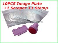 10pcs Round Stainless Steel Image Plate + 1 stamp + 1 scraper Nail Art Stamping set Nail printer Set Free shipping #0101