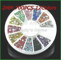 12 Colors 2mm Rhinestone Beads Nail Acrylic Stone 3D Nail Art Decoration in WHEEL Freeshipping-#0098