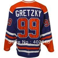 Ice hockey Edmonton #99 Wayne Gretzky blue jerseys, high quality