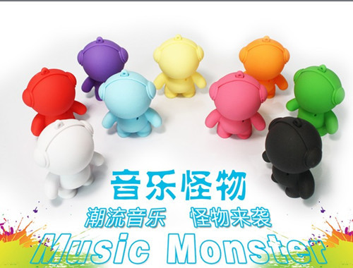 Free shipping Day gift doll sound cartoon speaker solid color mini stereo music monster 100(China (Mainland))