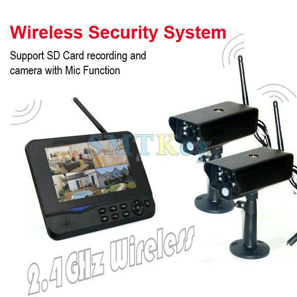 Home 4CH 2.4G Wireless Security CCTV Recording System with 7inch LCD monitor and 2pcs wireless IR camera(China (Mainland))