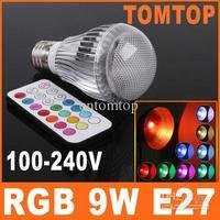 9W AC 100-240V E27 LED RGB Light Bulb Colorful 2 Million Colors table Lamp + Remote Control H8098