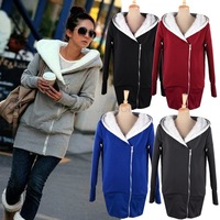 Free Shipping Korea Women Hoodie Jacket Coat Warm Outerwear Hooded Zip Sweatshirts 3269