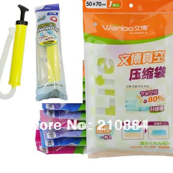 10 PCS Vacuum Compressed Bag Vacuum Storage Bag Clothes Quilt Space Saver Storage Bag Hand Pump Free Shipping