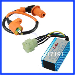 Free Shipping Performance 6 pin Racing CDI Box +Ignition Coil For GY6 Scooter Moped 50CC 150CC(China (Mainland))