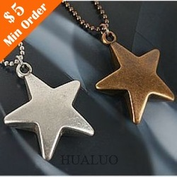 Minorder is $15 (mix order)Free Shipping Korean Jewelry Lucky Star Sweater Chain Vintage Five-star Long Necklace N739 N525(China (Mainland))