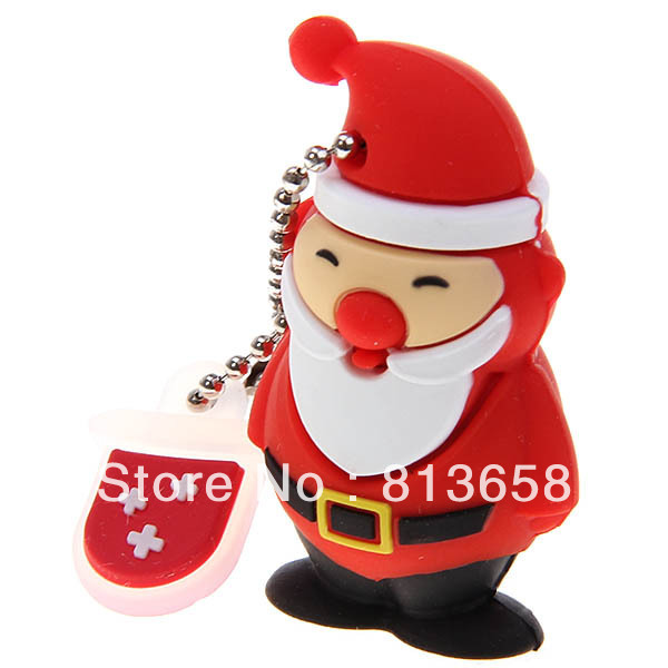 16GB Stylish Cute Jolly Santa Silicon Protection U Disk USB Flash Drives Memory -Red(China (Mainland))