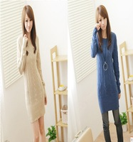 2012 autumn and winter new arrival e9329 thickening twisted long design women's o-neck sweater basic sweater