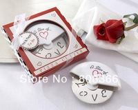 "Free shipping 10PCS/LOT JJ348 Wedding gifts""A Slice of Love"" Stainless-Steel Pizza Cutter in Miniature Pizza Box Real Photo"