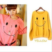 Women's autumn and winter small sweatshirt outerwear Korean Smiling face Hoodie