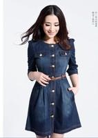 Newest,Vintage Fashion Women's Denim Dresses ,Popular Detachable Lace Neck Ladies' Workwear Casual Dresses A10