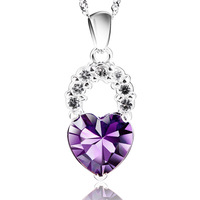 Women's necklace love shaped crystal necklace women's pendant fashion chain
