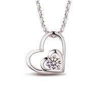 925 pure silver platinum pendant female necklace short design necklace