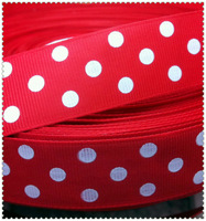 """Free shipping 1"""" (25mm) Grosgrain ribbon Polka Dots printed red ribbon with white dots, DIY hairbow accessories, gift package"""