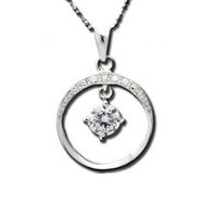 925 pure silver inlaying hearts and arrows cubic zircon pendant necklace female necklace