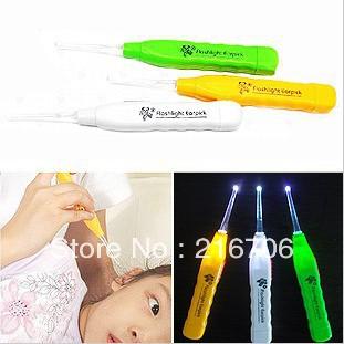 200pcs/lot Nonslip LED flashlight earpick with light ear cleaner curette ear wax remover tool light ear pick +Free shipping(China (Mainland))