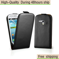 New Genuine Leather Vereical Slim Flip Case Cover for Samsung Galaxy S3 SIII Mini i8190 Free Shipping UPS DHL HKPAM CPAM