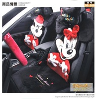 cute mickey mouse car seat covers sets with steering wheel cover, head rest pillow 1 pair good quality comfortable practical