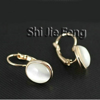 Free shipping ITALINA jewelry/white opal earrings new ear clip