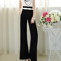 Free shipping Black Vintage Long Pants High Waist Wide Leg Flared Palazzo Trousers S M L WP20