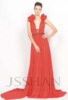12P052 Wide Straps Deep V-Neck Bowknot Rhinestoned A-Line Prom Evening Dress Long Prom Dress