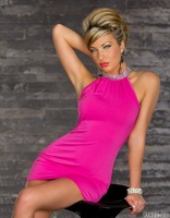 Fashion Ladies Bare shoulder dress halter party costume Sexy clubbing wear sexy dress outfit  W1334