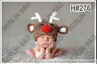 Handmade Cute Newborn Baby girl Crochet  Knit deer beanie Hat in dark gray christmas gift Free Shipping over the world