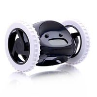 High quality   Funny Moveable Wheeled Robot Moving Runs Alarm Clock Digital Liquid Display -black