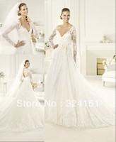 2013 princess New Arrival A Line V Neck  Court Train Long Sleeve Lace Applique White Wedding Dress/Gown Dresses Discount