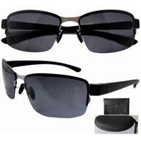 Free shipping P11003 stainless steel frame gray PC lens lightweight half-rim sunglasses w/case