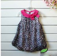 baby girls' dresses kids children 2013 leopard chiffon vest Dress 1224 B yq