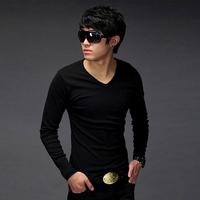 2012 autumn t-shirt male long-sleeve v-neck T-shirt 100% cotton basic shirt men's casual t-shirt