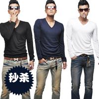 Men's slim t-shirt V-neck cotton t-shirt male long-sleeve T-shirt basic shirt men's male long-sleeve