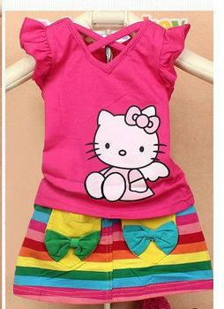 Wholesale summer Girl hello kitty casual mini dress suit/kids Print rainbow stripe novelty clothing/tshirt+mini skirt 90-130cm