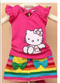 Wholesale summer Girl hello kitty casual mini dress suit/kids Print rainbow stripe novelty clothing/tshirt+mini skirt 90-130cm