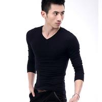 100%cotton free shipping hot sale  explosion models fashion Slim shirts men's elastic bottoming shirt Mens long sleeve t -shirt