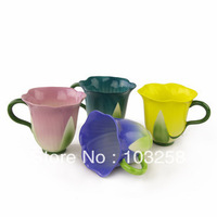 300ml European style Flower-shape Ceramic Cup Creative Mug cup ceramic handmade Office Water glass  3 colours Options