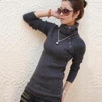2012 Women button elastic basic shirt turtleneck sweater thermal sweater