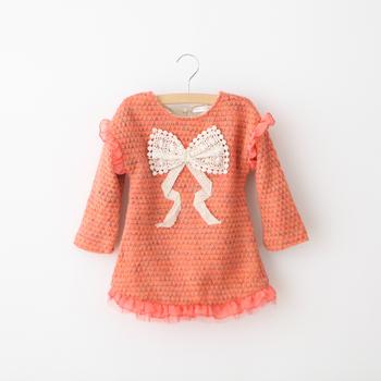 Peach girl child female child children's clothing yarn knitted yarn one-piece dress holiday loading