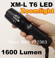 free shipping,New UltraFire 878 CREE adjustable XML XM-L T6  1600 Lumens LED Flashlight 18650 26650 Battery