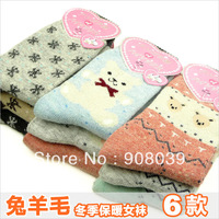 autumn and winter thickening rabbit wool socks thermal  knee-high socks 10pair/lot
