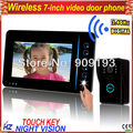 "Free shipping 7"" color wireless video door phone, touch button, charge battery for power, one camera with one monitor"