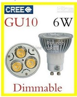 wholesales  GU10 e27 b22  gu5.3  3x2W 6W 50pcs a lot  CREE High power Dimmable  LED 85v-265v