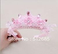 {Min.Order $15} 10pcs/Lot 2013 New Kids/Girl/Princess/Baby Pink Velvet Crown Pearl Stone Ribbon HeadBand/Hair Accessories