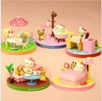 Wholesale +Free shipping!High Quality Hello Kitty PVC Figures Toy,Scene Style Kitty PVC Home Decoration 5pcs/set