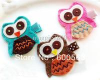"""2"""" OWL Girls cartoon Hair Clips baby Hair Bows handmade Simple wool felt clips 100pcs / lot"""