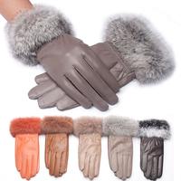 2014 sheepskin gloves female winter thermal autumn and winter rabbit fur women's genuine leather gloves