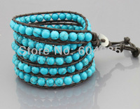 wholesale gothic style weaving shambhala leather bracelet 5 wrap natural stone bead bracelet jewelry free shipping CLB637