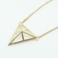 Wholesale! Metal Punk Hollow Pyramid Three-dimensional Triangle Pendant  Necklace NL297 el collar